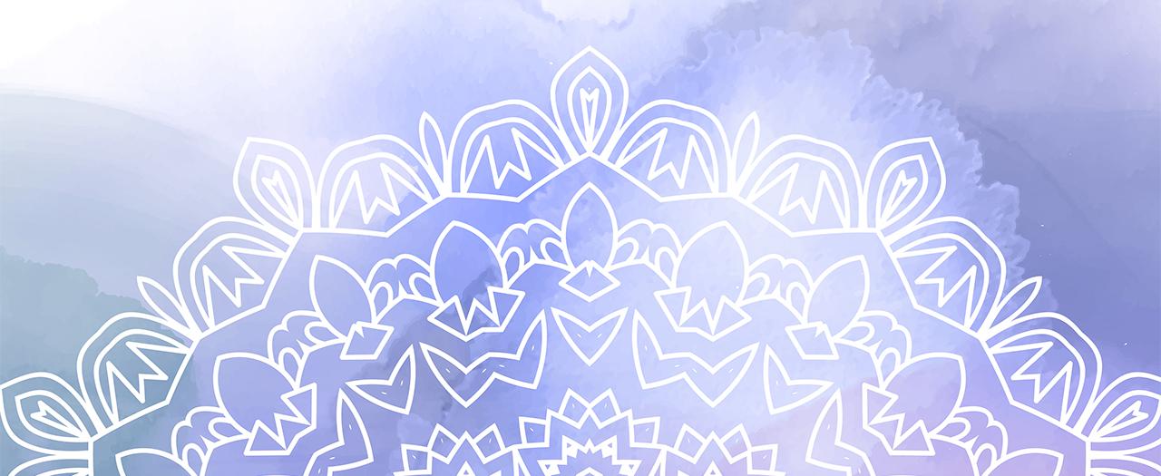 Decorative madala design on a watercolour background